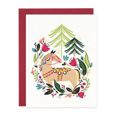 Equestrian Dala Winter Pony Card