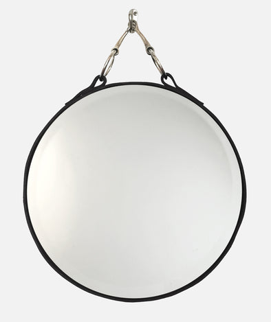 Snaffle Round Mirror Hand-Tacked Latigo Leather