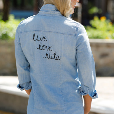 Live Love Ride Denim Top Equestrian Fashion Apparel
