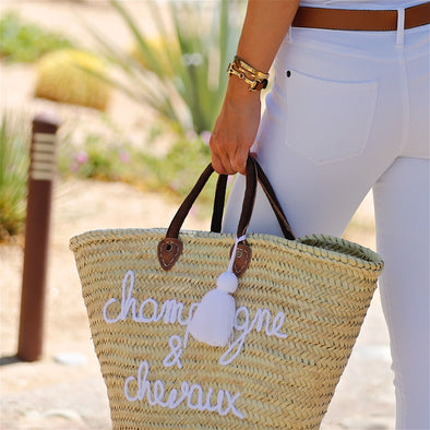 Champagne & Chevaux Tote Leather Handles