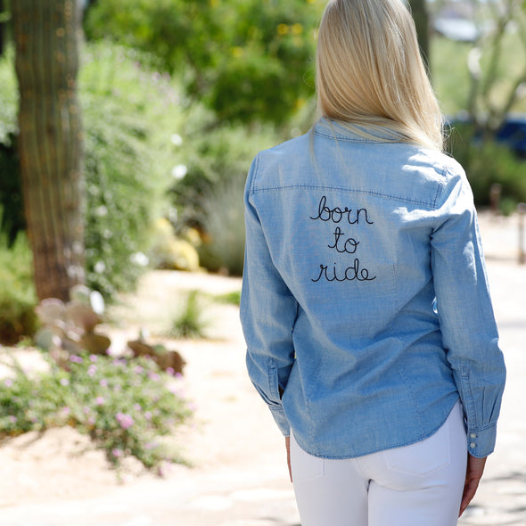 Born To Ride Light Chambray Denim Top