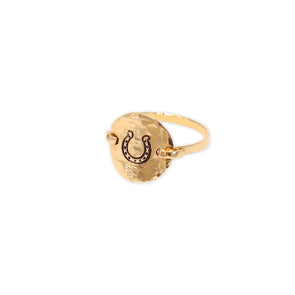 Hammered Horseshoe Ring - Gold