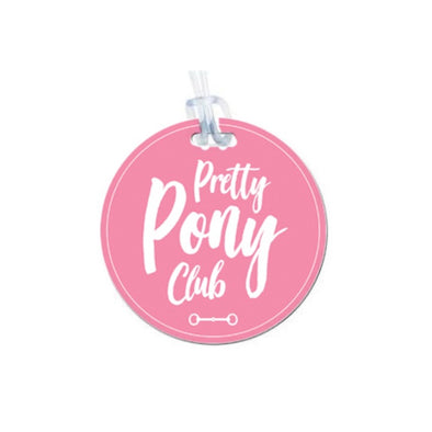 stylish equestrian pretty pony club pink and white round luggage tag