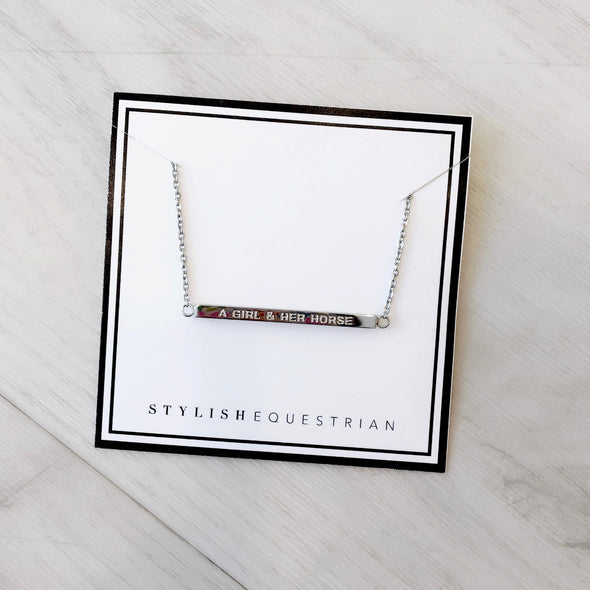 a girl and her horse engraved bar necklace