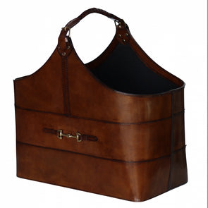 dequestrian alexandria large magazine basket in cognac leather with brass snaffle bit