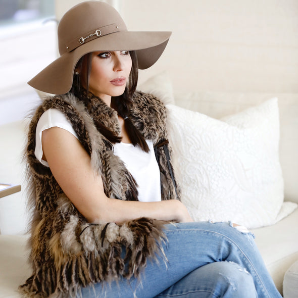 Alli Packable Floppy Felt Hat Camel