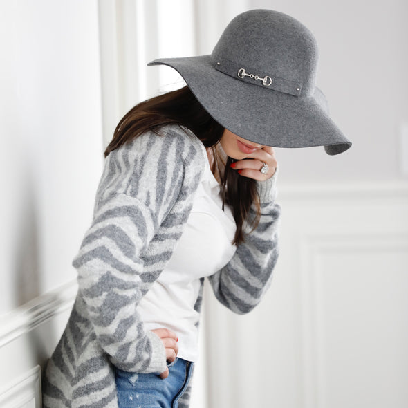 Alli Packable Floppy Felt Hat Grey