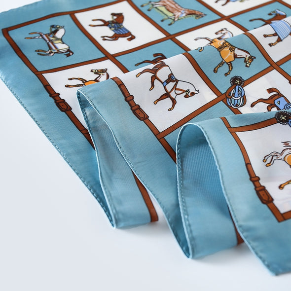 equestrian horse silk scarf french blue