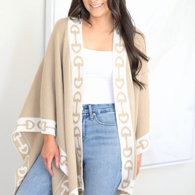 lilo collections stylish equestrian ariana alpaca shawl taupe and ivory