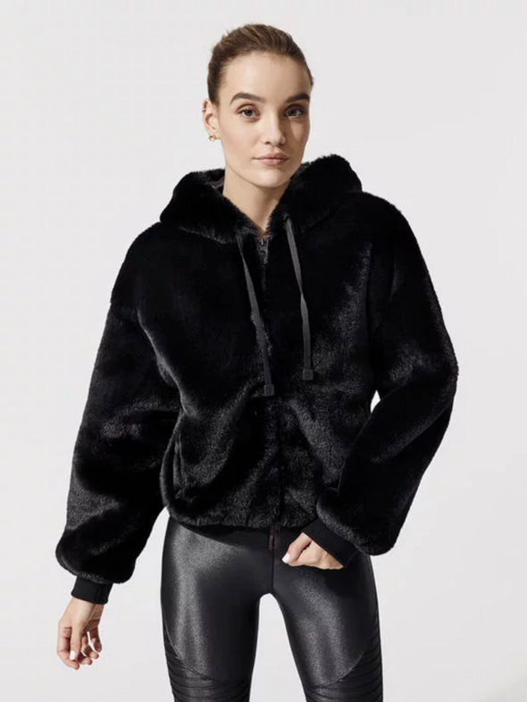 Aspen Hoodie Black Polyester Faux Fur Winter Fashion