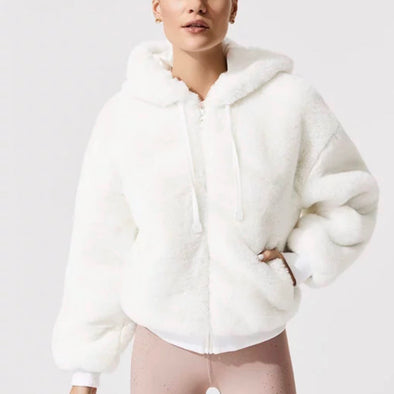 Aspen Hoodie Ivory Polyester Faux Fur Winter Fashion