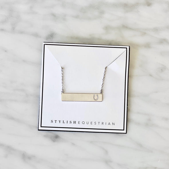 stylish equestrian dainty bar necklace with horseshoe cutout silver