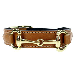Belmont Dog Collar Cognac & Gold 100% Italian Leather