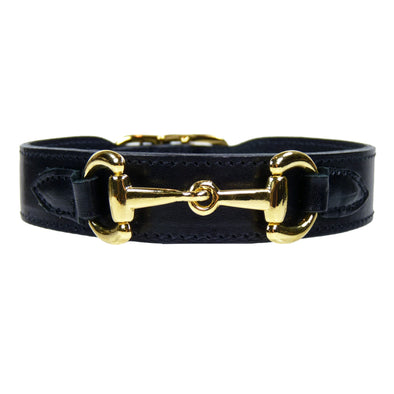 Belmont Dog Collar Black & Gold 100% Italian Leather