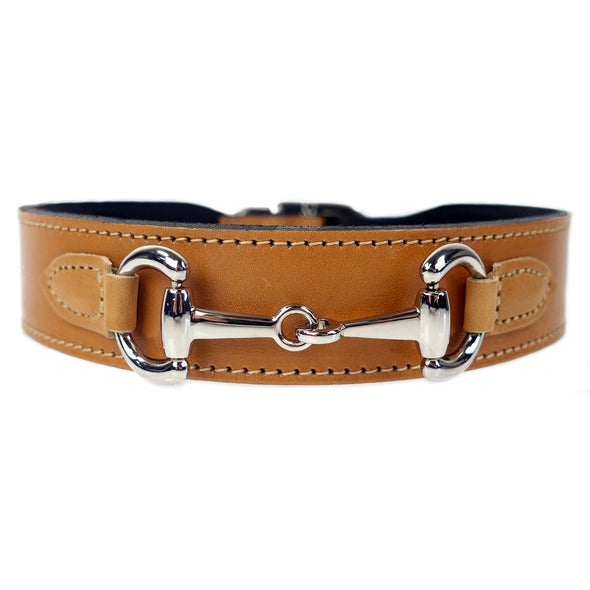 Belmont Dog Collar Cognac & Silver 100% Italian Leather