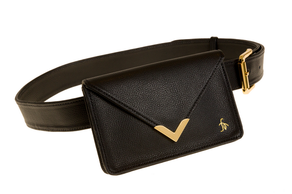 The Equestrian Hip Bag Black Italian Cross Grain Leather