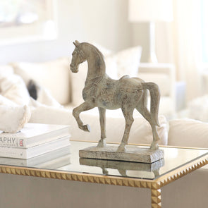 lamps plus stylish equestrian charlotte horse statue accent wood washed