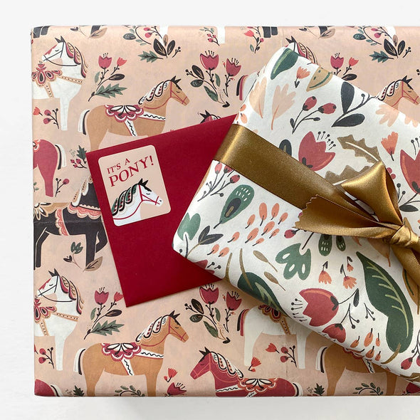 Dala Pony Reversible Gift Wrap