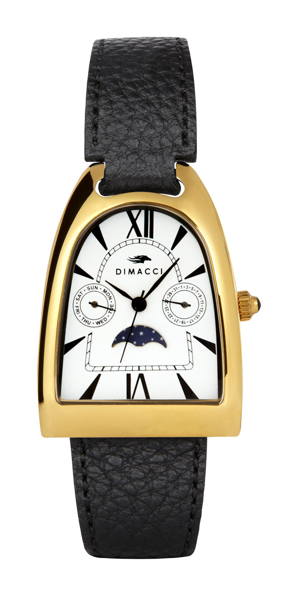Equestrian Deauville Boyfriend Watch Black & Gold Plated