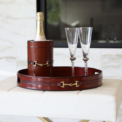 d'equestrian stylish equestrian ellen wine bucket leather with brass hardware