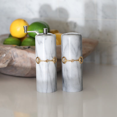 stylish equestrian french marble salt and pepper grinder with gold horse bit