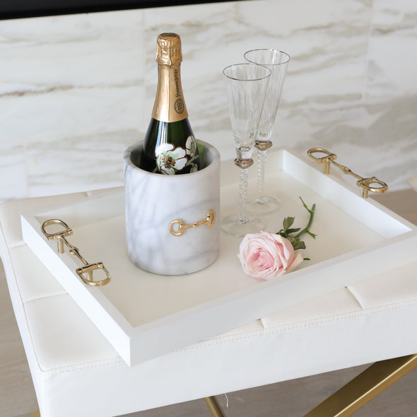 pomegranate stylish equestrian emily serving tray white with gold bit handles