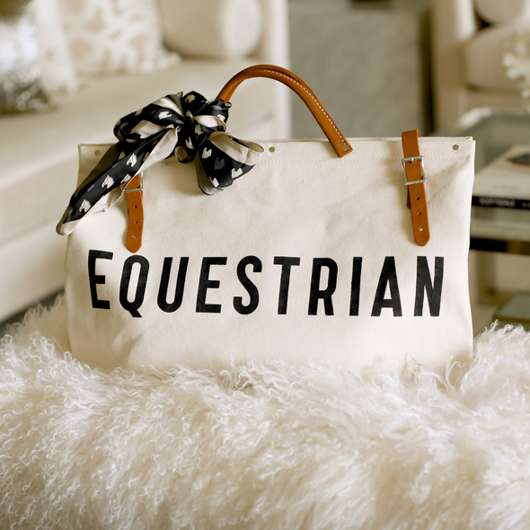 stylish equestrian forestbound equestrian canvas tote natural