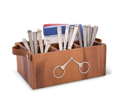 arthur court stylish equestrian wooden caddy with silver bit