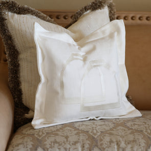 stylish equestrian horse a porter white canvas pillow with equestrian stirrup front embroidery