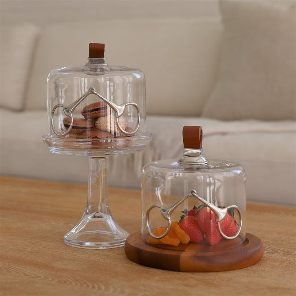 arthur court stylish equestrian glass dome serving stand with silver bit and leather top handle