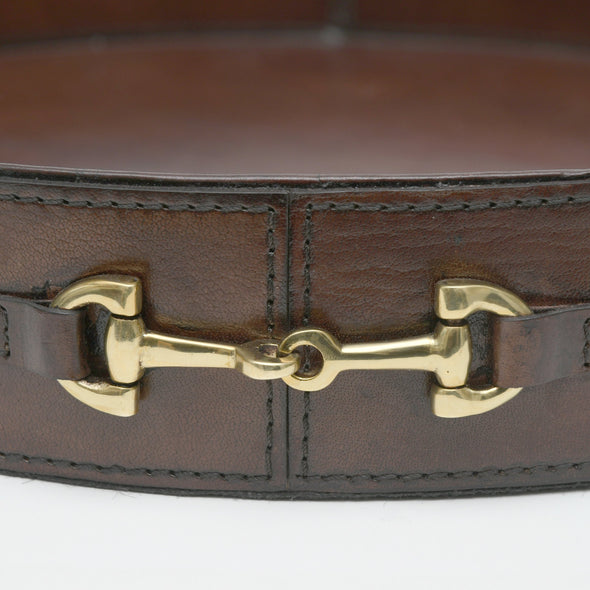 d'equestrian stylish equestrian harper tray round brown leather with brass horse bit and two handle