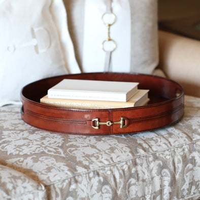 d'equestrian stylish equestrian harper tray round brown leather with brass horse bit and two handles
