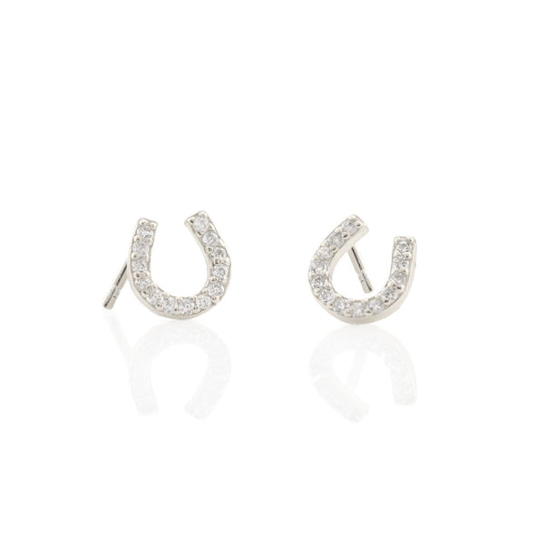 Horseshoe Pave Stud Earrings