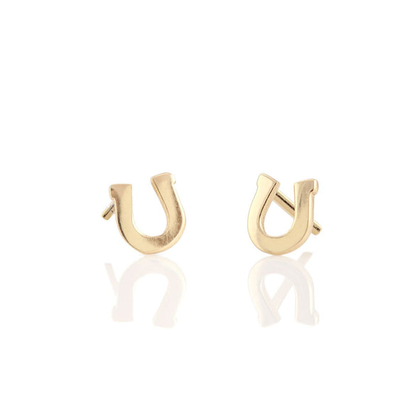 Horseshoe Stud Earrings Gold Equestrian Fashion Jewelry
