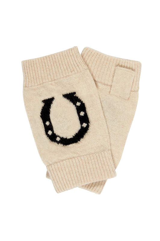 stylish equestrian brodie cashmere horseshoe wrist warmers with black horseshoe cashmere
