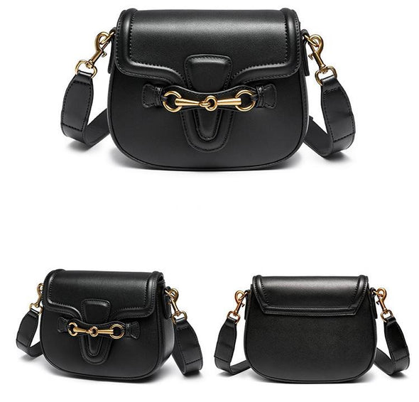 Equestrian Horse Bit Crossbody Bag Black Vegan Leather
