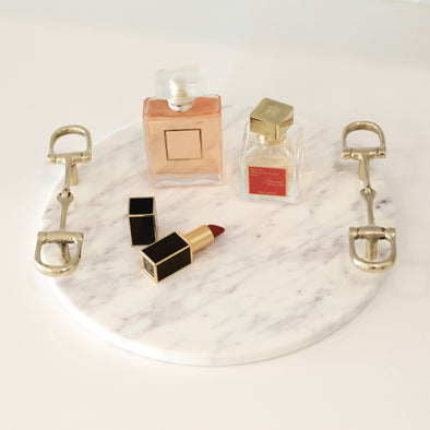 pomegranate stylish equestrian jacque marble tray with gold bit handles
