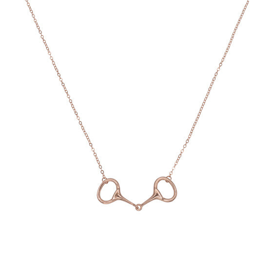 equestrian dainty jewelry rose gold bit necklace