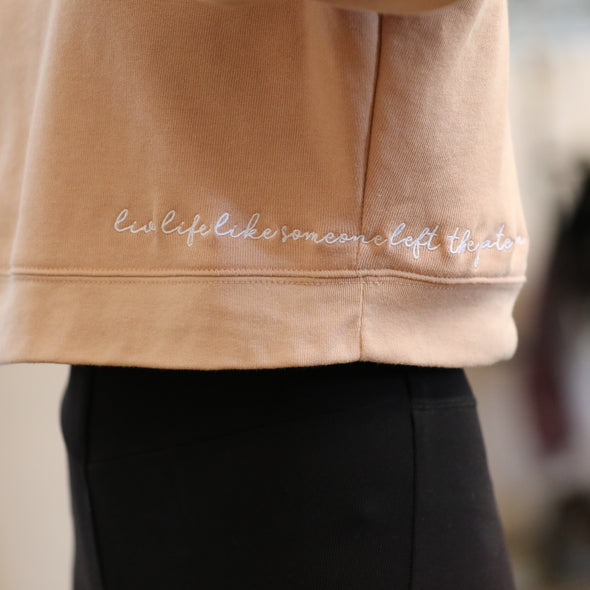 stylish equestrian live life like someone left the gate open embroidered cropped sweatshirt sand