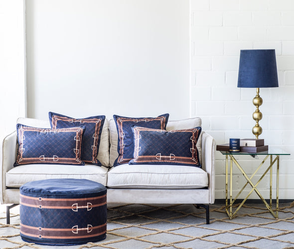 Luxury Velvet Bit Horizontal Pillow Navy