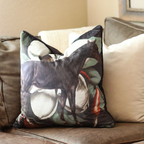 adamsbro equestrian dark horse velvet pillow with magnolias