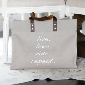 Mantra Tote Taupe  Live Love Ride Repeat