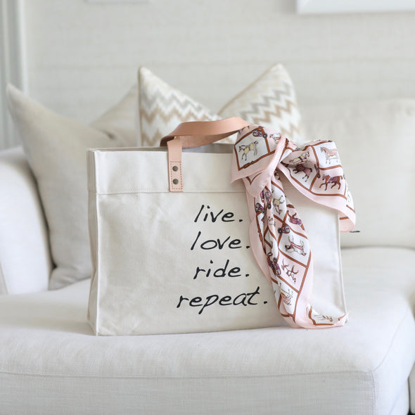 mantra tote equestrian live love ride repeat canvas tote
