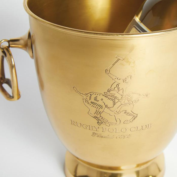 Equestrian Rugby Polo Player Brass Bar Ice Bucket
