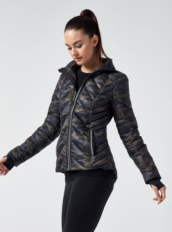 Reflective Camo Puffer Jacket Blanc Noir Winter Fashion Apparel