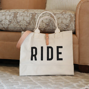 stylish equestrian forestbound ride canvas tote natural