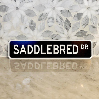 saddle bred drive street sign black and white stylish equestrian