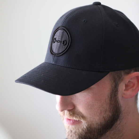stylish equestrian black logo embroidered mens flex fit hat black