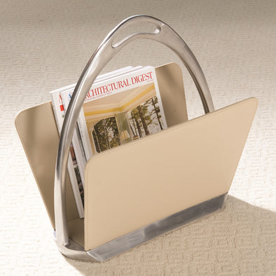 Stirrup Magazine Stand Creamy Beige Leather