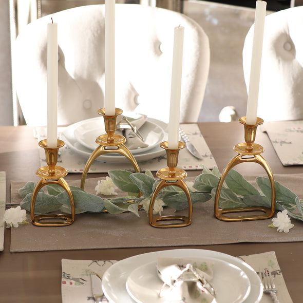 Stirrup Candle Holder Set - Brass
